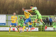 Forest Green Rovers Kieffer Moore(14) goes close with a header during the Vanarama National League match between Forest Green Rovers and Torquay United at the New Lawn, Forest Green, United Kingdom on 1 January 2017. Photo by Shane Healey.