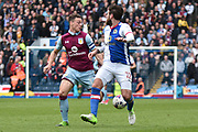 Aston Villa Defender, James Chester (12) and Blackburn Rovers Forward, Danny Graham (12) during the EFL Sky Bet Championship match between Blackburn Rovers and Aston Villa at Ewood Park, Blackburn, England on 29 April 2017. Photo by Mark Pollitt.