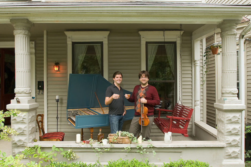 Harpsicordist John Austin Clark and violinist Nicolas Fortin are Bourbon Baroque, photographed Tuesday, September 8, 2009 on their front porch in the Highlands. (Photo by Brian Bohannon)
