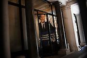 Un manifesto di Silvio Berlusconi esposto all'ingresso della sede del partito Forza Italia. Roma, 10 giugno 2013. Christian Mantuano / OneShot