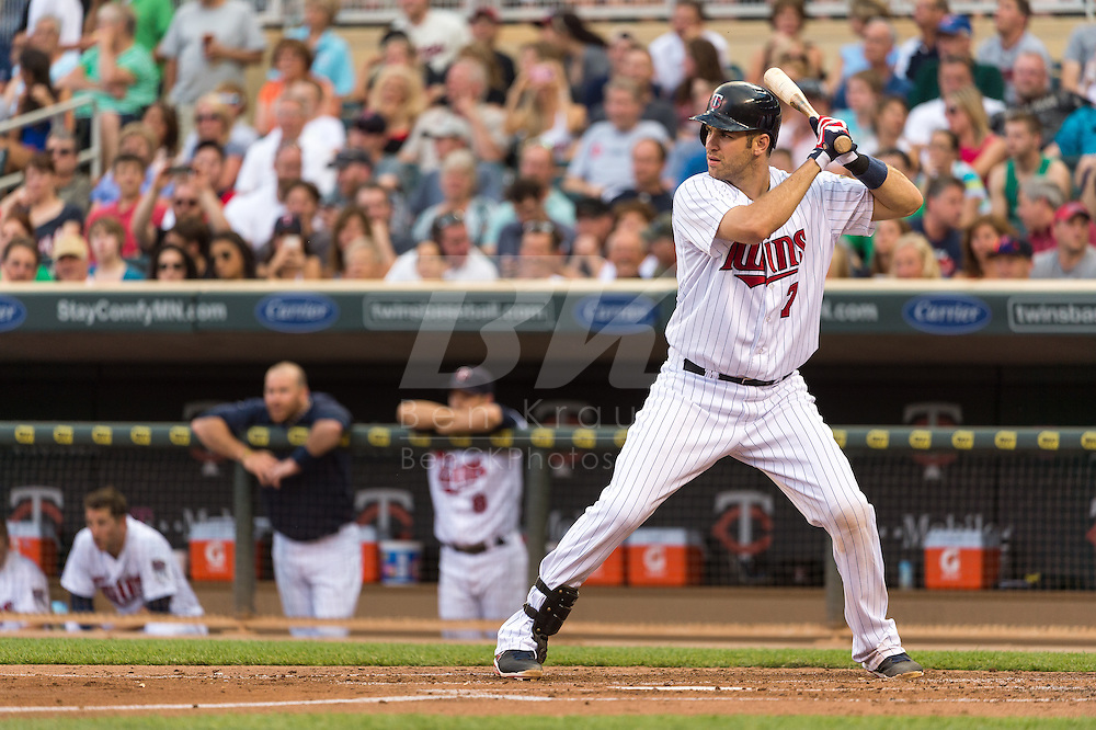 Joe Mauer #7 of the Minnesota Twins bats against the Kansas City Royals on June 27, 2013 at Target Field in Minneapolis, Minnesota.  The Twins defeated the Royals 3 to 1.  Photo by Ben Krause