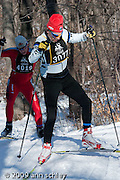 Freestyle skiers just after crossing Glenwood in the City of Lakes Loppet.