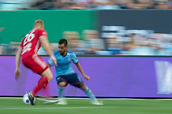 July 8, 2018 - Bronx, New York, United States - New York City midfielder MAXIMILIANO MORALEZ (10) dribbles the ball agains New York Red Bulls defender TIM PARKER (26) during a regular season match at Yankee Stadium in Bronx, NY.  New York City FC defeats the New York Red Bulls 1 to 0 (Credit Image: © Mark Smith via ZUMA Wire)