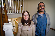 Visiting Heath Professors Maria Carmen Martinez Novo and Carlos de la Torre pose for a portrait outside their office in Macy House in Grinnell on Monday.