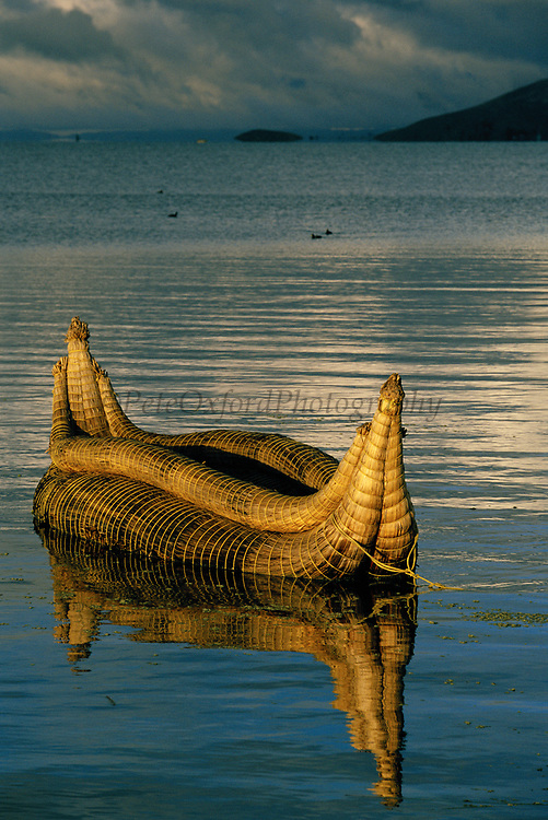 Totora Reed Boat<br />Typical boat of the region<br />Lake Titicaca. Andes  BOLIVIA & PERU<br />South America