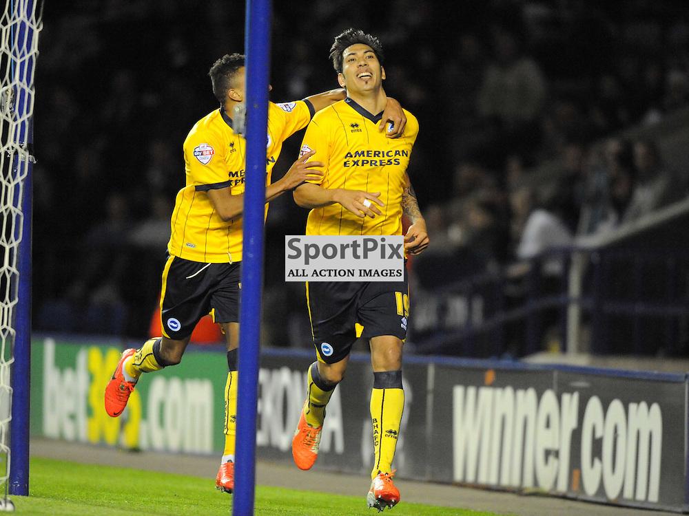Brightons Leonardo Ulloa, Celebrates after scoring Brightons 3rd Goal, Leicester City v Brighton Hove Albion Sky Bet Championship Tuesday 8th April  2014