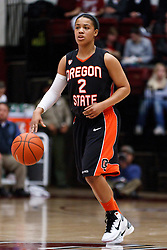 February 24, 2011; Stanford, CA, USA;  Oregon State Beavers guard Alexis Bostick (2) dribbles up court against the Stanford Cardinal during the first half at Maples Pavilion.  Stanford defeated Oregon State 73-37.