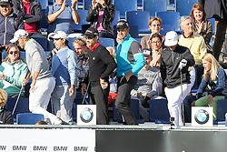 23.06.2015, Golfclub M&uuml;nchen Eichenried, Muenchen, GER, BMW International Golf Open, Show Event, im Bild l-r: die Spieler verlassen die Tribuene, Maximilian Kieffer (GER), Fabrizio Zanotti (PAR), Camilo Villegas (COL), Henrik Stenson (SWE) und Thorbjorn Olesen (DEN) // during the Show Event of BMW International Golf Open at the Golfclub M&uuml;nchen Eichenried in Muenchen, Germany on 2015/06/23. EXPA Pictures &copy; 2015, PhotoCredit: EXPA/ Eibner-Pressefoto/ Kolbert<br /> <br /> *****ATTENTION - OUT of GER*****