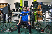 Forest Green Rovers goalkeeper Harry Pickering(24) has his face scanned for FIFA18 during the Forest Green Rovers Photocall at the New Lawn, Forest Green, United Kingdom on 31 July 2017. Photo by Shane Healey.
