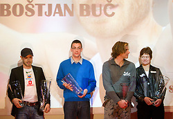 Bostjan Buc, Sebastijan Jagarinec, Jurij Rovan and Martina Ratej during the Slovenia's Athlete of the year award ceremony by Slovenian Athletics Federation AZS, on November 12, 2008 in Hotel Mons, Ljubljana, Slovenia.(Photo By Vid Ponikvar / Sportida.com) , on November 12, 2010.