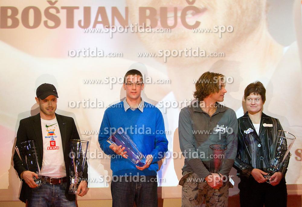 Bostjan Buc, Sebastijan Jagarinec, Jurij Rovan and Martina Ratej during the Slovenia's Athlete of the year award ceremony by Slovenian Athletics Federation AZS, on November 12, 2008 in Hotel Mons, Ljubljana, Slovenia.(Photo By Vid Ponikvar / Sportida.com) , on November 12, 2010.