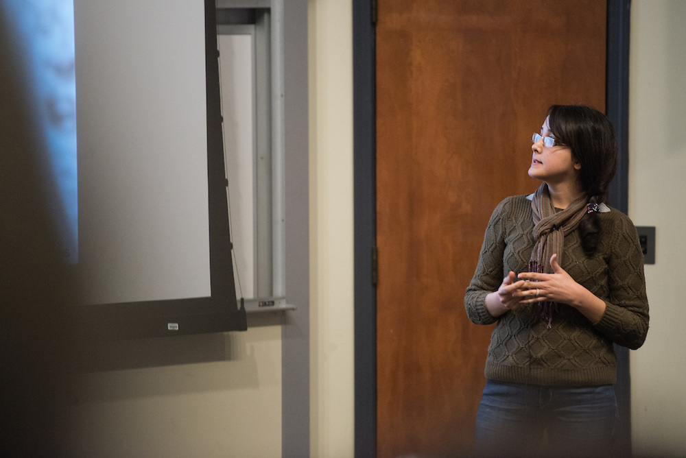 NAME presents her thesis during the 3 Minute Thesis Competition at the Stocker Center on February 15, 2017.