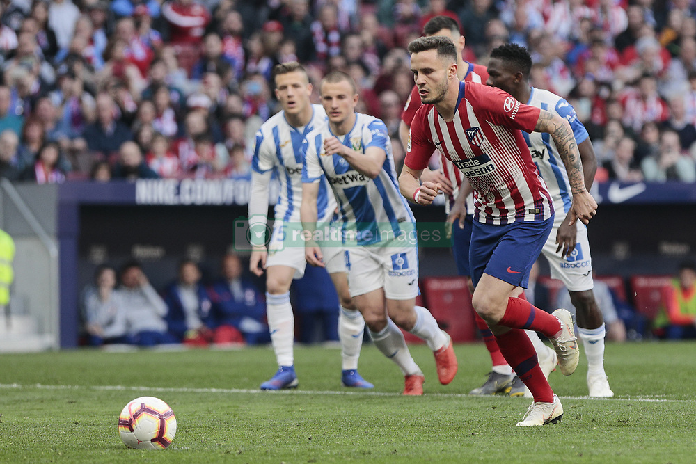 March 9, 2019 - Madrid, Madrid, Spain - Atletico de Madrid's Saul Niguez have words with the referee during La Liga match between Atletico de Madrid and CD Leganes at Wanda Metropolitano stadium in Madrid. (Credit Image: © Legan P. Mace/SOPA Images via ZUMA Wire)