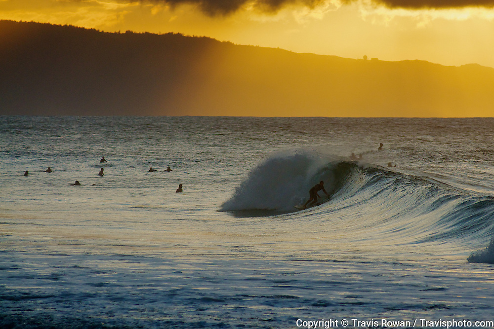 Progressive surfing action on the North Shore of Oahu, Hawaii.