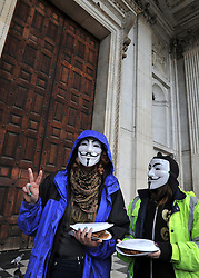 © Licensed to London News Pictures. 26/10/2011. London, UK. Occupy London protesters outside St Paul's Cathedral today, 26 October 2011. The UK's most popular Cathedral still has its doors closed over health and safety fears for it's visitors. Photo: Stephen Simpson/LNP
