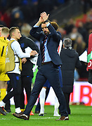 England manager Gareth Southgate applauds the fans at full time after a 5-0 win during the UEFA European 2020 Qualifier match between England and Czech Republic at Wembley Stadium, London, England on 22 March 2019.