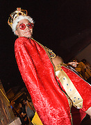 Krewe of O.A.K. King Anthony Cassatt reigns as Robustus XX at Midsummer Mardi Gras at the Maple Leaf