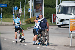 Lotta Lepistö (FIN) of Cervélo-Bigla Cycling Team hugs her DM Thomas Campana after winning the Crescent Vargarda - a 152 km road race, starting and finishing in Vargarda on August 13, 2017, in Vastra Gotaland, Sweden. (Photo by Balint Hamvas/Velofocus.com)