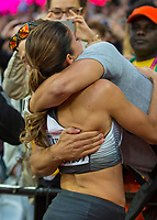 Athletics - 2017 IAAF London World Athletics Championships - Day Nine, Evening Session<br /> <br /> Womens 100m Hurdle Final<br /> <br /> Pamela Dutkiewicz (Germany) is congratulated by her partner at the London Stadium<br /> <br /> COLORSPORT/DANIEL BEARHAM