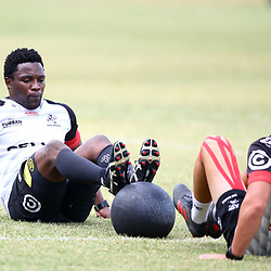 DURBAN, SOUTH AFRICA - JANUARY 23: Lwazi Mvovo with Curwin Bosch during the Cell C Sharks training session at Growthpoint Kings Park on January 23, 2018 in Durban, South Africa. (Photo by Steve Haag/Gallo Images)