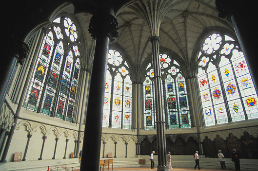 View of the Chapter House of the Westminister Abbey in London, England.