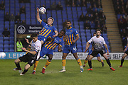 Goal mouth scramble with 17 Luke Hendrie for Shrewsbury Town and 6 Jack Baldwin for Peterborough United during the EFL Sky Bet League 1 match between Shrewsbury Town and Peterborough United at Greenhous Meadow, Shrewsbury, England on 24 April 2018. Picture by Graham Holt.