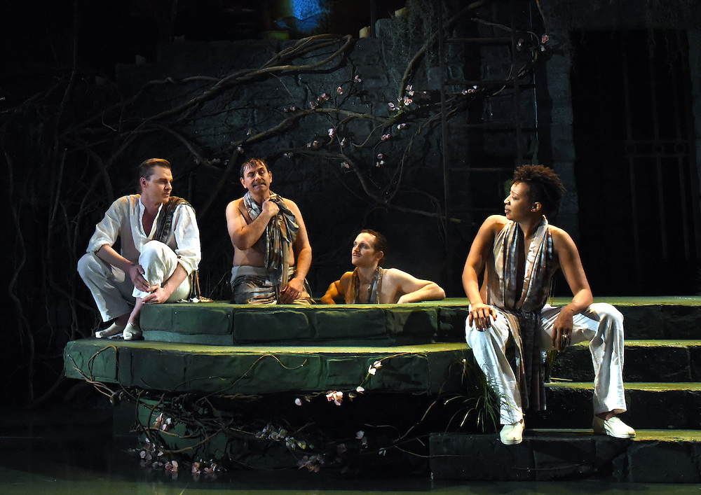 """Mara Lavitt -- Special to the Hartford Courant<br /> March 24, 2016<br /> The run-through of William Shakespeare's """"Cymbeline,"""" at the University Theatre at Yale. From left: Jeffrey Carlson as Iachimo, Anthony Cochrane as Philario, Robert David Grant as Frenchman, and Miriam A. Hyman as Posthumus Leonatus."""