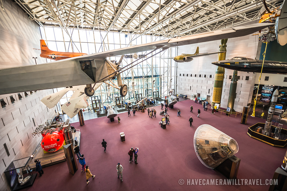The main foyer inside the entrance at the Smithsonian Institution's National Air and Space Museum on the National Mall in Washington DC. The Air and Space Museum, which focuses on the hsitory of aviation and space exploration, is one of the most visited museums in the world.