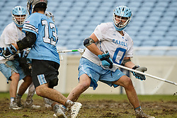 CHAPEL HILL, NC - FEBRUARY 23: Jake Peden #0 of the North Carolina Tar Heels during a game against the Johns Hopkins Blue Jays on February 23, 2019 at Kenan Stadium in Chapel Hill, North Carolina. Hopkins won 11-10. (Photo by Peyton Williams/US Lacrosse)
