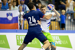 Tilen Kosi of Slovenia during handball match between National teams of France and Slovenia in Final of 2018 EHF U20 Men's European Championship, on July 29, 2018 in Arena Zlatorog, Celje, Slovenia. Photo by Urban Urbanc / Sportida