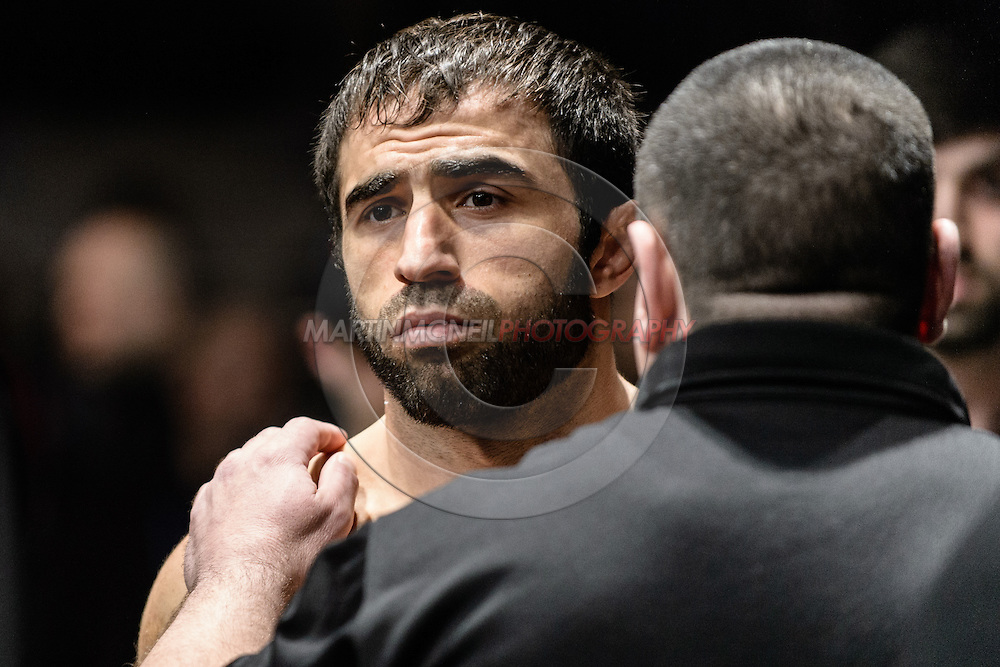 "LONDON, ENGLAND, MARCH 8, 2014: Omari Akhmedov during ""UFC Fight Night: Gustafsson vs. Manuwa"" inside the O2 Arena in Greenwich, London on Saturday, March 8, 2014 (© Martin McNeil)"