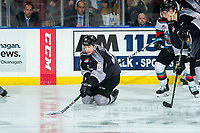 KELOWNA, BC - JANUARY 4: Michal Kvasnica #38 of the Vancouver Giants tries to pass the puck after falling to the ice against the Kelowna Rockets  at Prospera Place on January 4, 2020 in Kelowna, Canada. (Photo by Marissa Baecker/Shoot the Breeze)