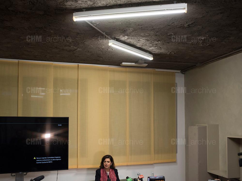 Laura Boldrini, presidente della Camera dei Deputati, durante l'apertura della sua campagna elettorale. Milano, 7 febbraio 2018. Guido Montani / OneShot<br /> <br /> Laura Boldrini, president of the Chamber of Deputies, during the opening of her electoral campaign. Milan, 7 february 2018. Guido Montani / OneShot