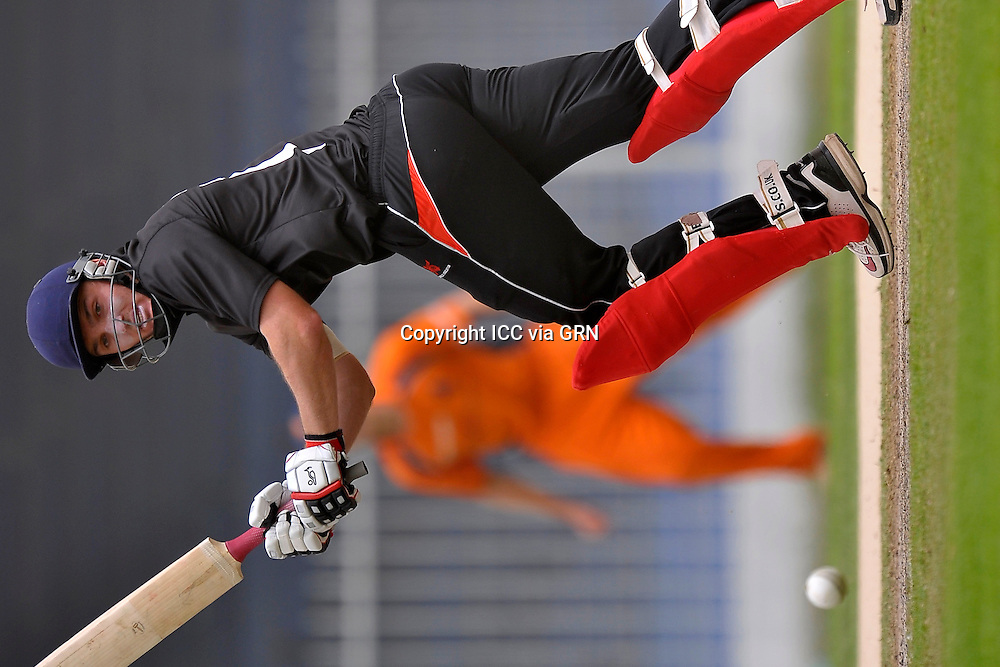 Hk's Captain James John Atkinson during the game against the Netherlands at the ICC World Twenty20 Qualifier 2012. Pix ICC/Thusith Wijedoru