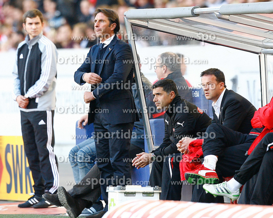 15.10.2011, Mercedes-Benz Arena, Stuttgart, GER, 1.FBL, VfB Stuttgart vs TSG 1899 Hoffenheim, Bruno LABBADIA, Trainer VfB Stuttgart, Eddy SOEZER, Co-Trainer VfB Stuttgart, Fredi BOBIC, Sportdirektor VfB Stuttgart, Coachingzone, Bank..// during the match from GER, 1.FBL, VfB Stuttgart vs TSG 1899 Hoffenheim on 2011/10/15,  Mercedes-Benz Arena, Stuttgart, Germany..EXPA Pictures © 2011, PhotoCredit: EXPA/ nph/  A.Huber       ****** out of GER / CRO  / BEL ******