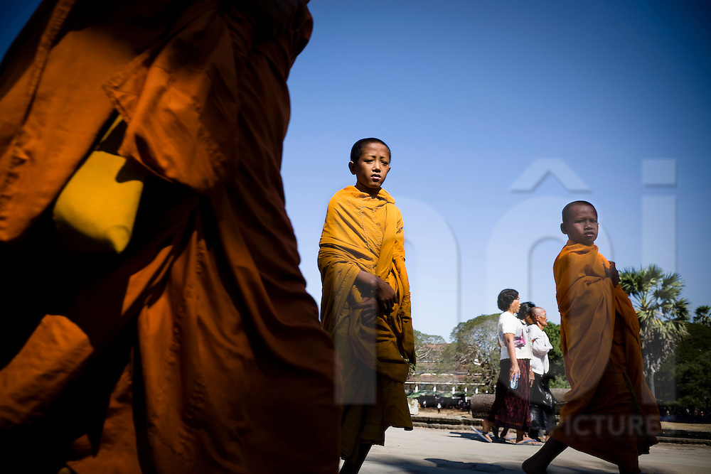 Young monks make their way to a temple in Anghor Wat, Angkor, Siem Reap, Cambodia, Southeast Asia, January 2011.