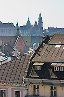 Wawel seen over the roof tops from the Town Hall Clock Tower in Rynek Glowny
