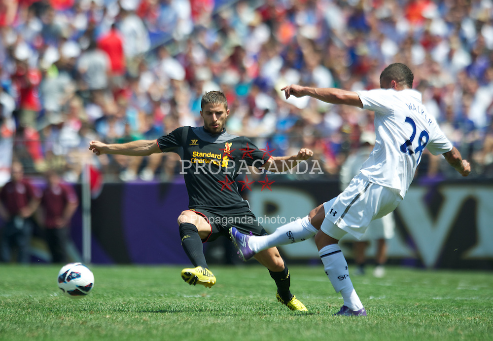 BALTIMORE, MD - Saturday, July 28, 2012: Liverpool's Fabio Borini in action against Tottenham Hotspur during a pre-season friendly match at the M&T Bank Stadium. (Pic by David Rawcliffe/Propaganda)