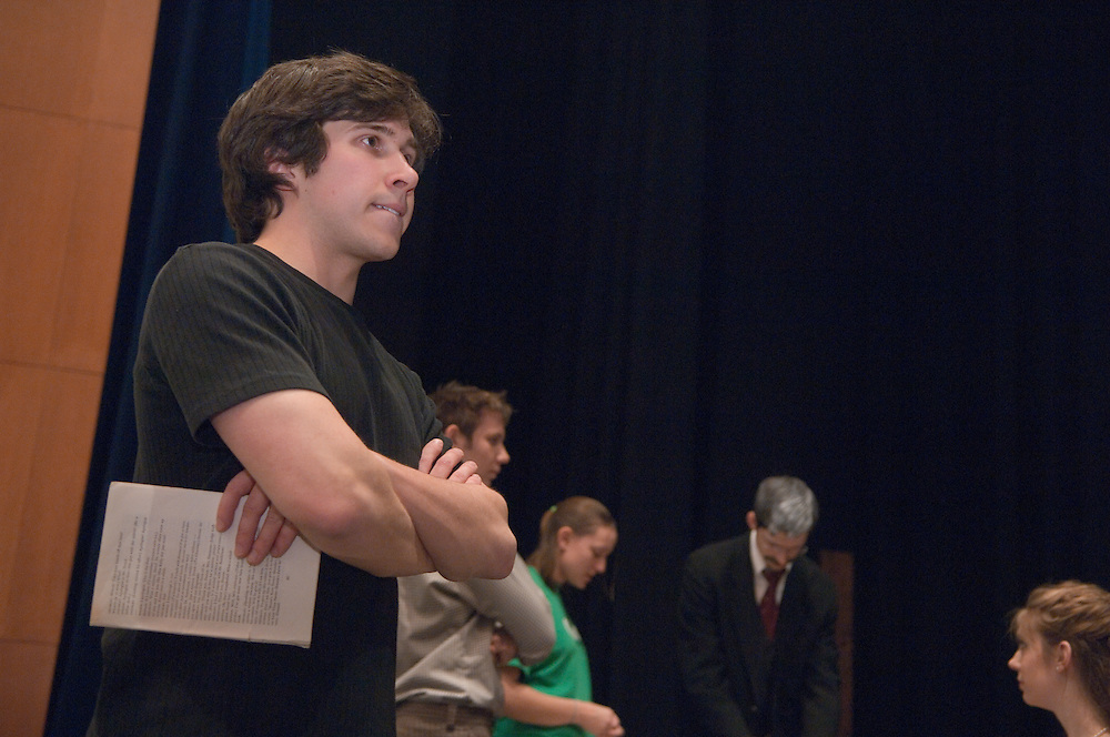 "Day in the life of Baker Center..""Harvey"" a Play in rehearsal by Lost Flamingo Company, A student run theater group...Sarah Krause, Casey Feran..Nick Smrdel, Director"