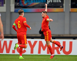 NEWPORT, WALES - Wednesday, November 13, 2019: Wales' Joseph Adams celebrates scoring the first goal during the UEFA Under-19 Championship Qualifying Group 5 match between Wales and Poland at Rodney Parade. (Pic by David Rawcliffe/Propaganda)