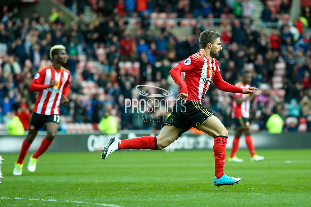 Sunderland forward Fabio Borini (9) scores a goal and celebrates  to make the score 2-2 during the Premier League match between Sunderland and West Ham United at the Stadium Of Light, Sunderland, England on 15 April 2017. Photo by Simon Davies.