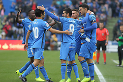 December 15, 2018 - Getafe, Madrid, Spain - Players of Getafe celebrating a goal during La Liga Spanish championship, , football match between Getafe and Real Sociedad, December 15, in Coliseum Alfonso Perez in Getafe, Madrid, Spain. (Credit Image: © AFP7 via ZUMA Wire)