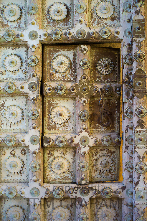 Mehrangarh Fort ornate door to the Nagnecha Temple at Jodhpur in Rajasthan, Northern India