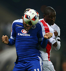Jeremy Brockie of SuperSport United heads the ball during the 2016 Premier Soccer League match between Supersport United and The Free Stat Stars held at the King Zwelithini Stadium in Durban, South Africa on the 24th September 2016<br /> <br /> Photo by:   Steve Haag / Real Time Images