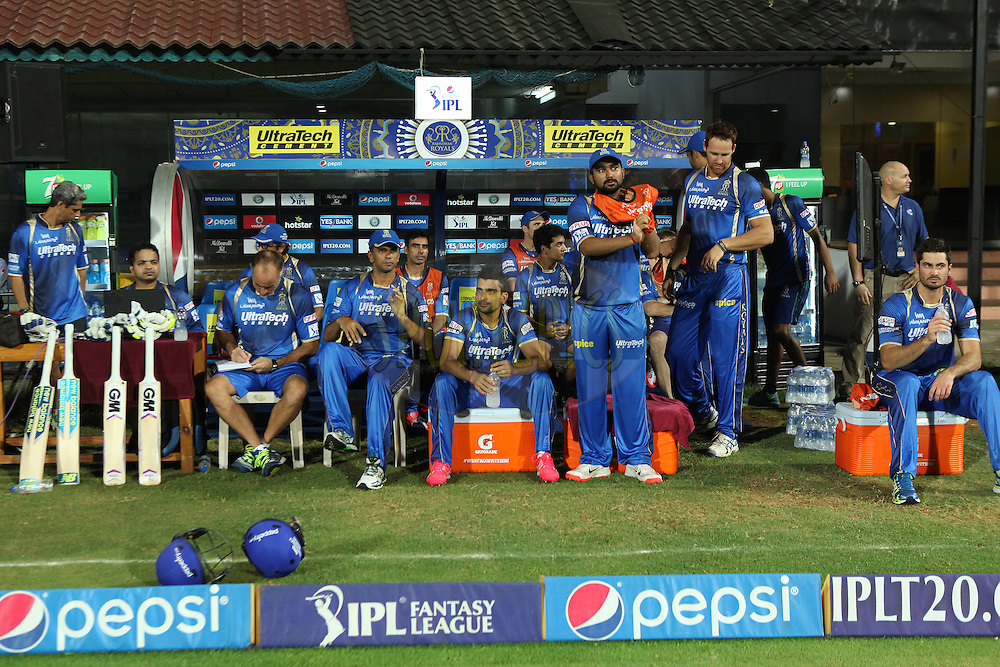 RR team at dugout during match 47 of the Pepsi IPL 2015 (Indian Premier League) between The Chennai Superkings and The Rajasthan Royals held at the M. A. Chidambaram Stadium, Chennai Stadium in Chennai, India on the 10th May 2015.<br /> <br /> Photo by:  Saikat Das / SPORTZPICS / IPL
