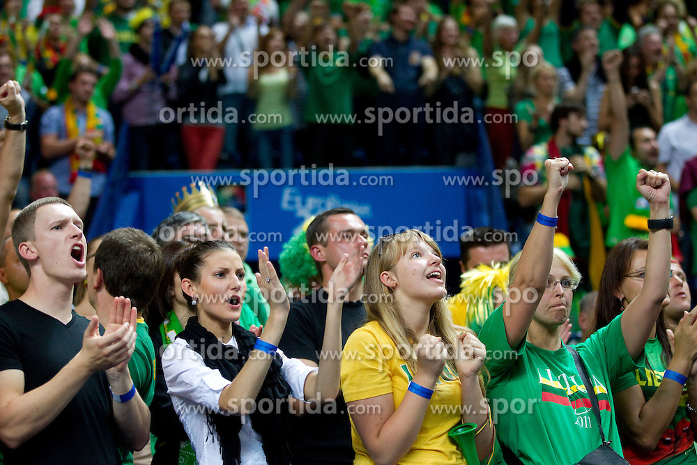 Fans of Lithuania celebrate during basketball game between National basketball teams of Lithuania and Germany at FIBA Europe Eurobasket Lithuania 2011, on September 11, 2011, in Siemens Arena,  Vilnius, Lithuania. Lithuania defeaed Germany 84-75. (Photo by Vid Ponikvar / Sportida)