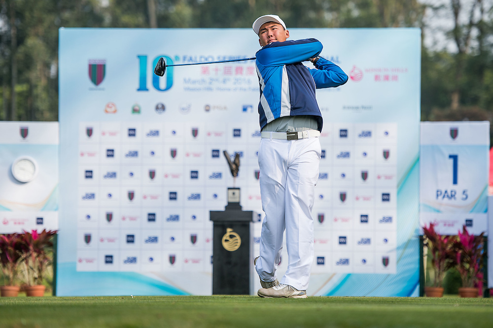Christopher Fan of Australia in action during day one of the 10th Faldo Series Asia Grand Final at Faldo course in Shenzhen, China. Photo by Xaume Olleros.