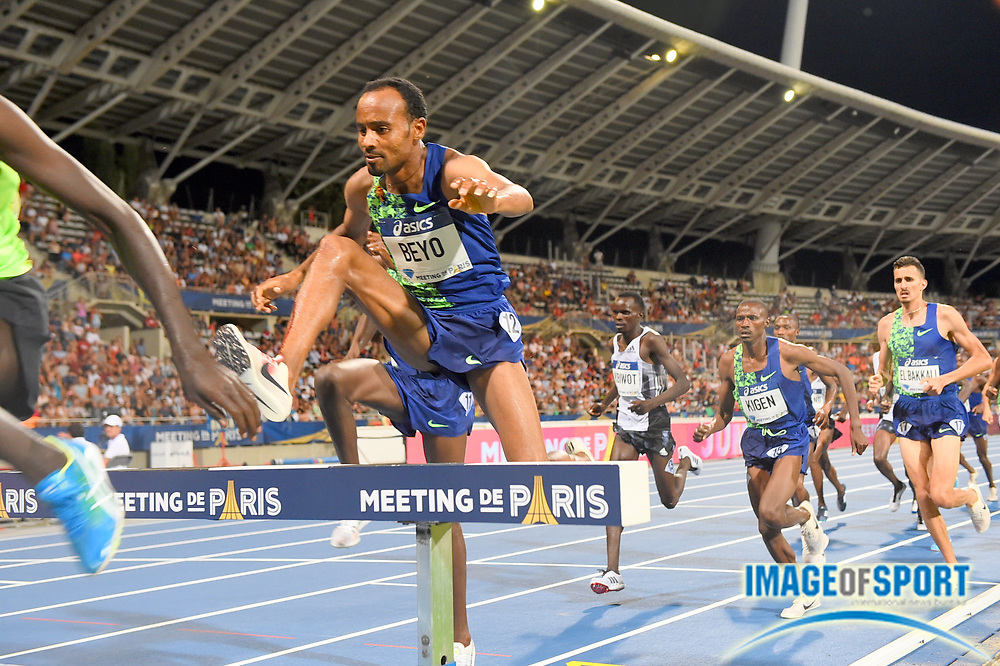 Chala  Beyo  (ETH) places fourth in the steeplechase in  8:09.36; during the Meeting de Paris, Saturday, Aug. 24, 2019, in Paris. (Jiro Mochizuki/Image of Sport via AP)