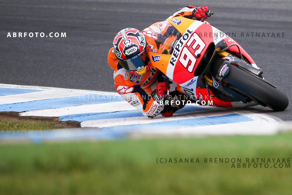 October 19, 2014: Marc Marquez riding for Repsol Honda Team  during the 2014 MotoGP of Australia at Phillip Island Grand Prix Circuit on October 19, 2014 in Phillip Island, Australia. Photo Asanka Brendon Ratnayake