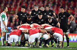 The New Zealand scrum packs down against the Lions in the third International rugby test match between the the New Zealand All Blacks and British and Irish Lions at Eden Park, Auckland, New Zealand, Saturday, July 08, 2017. Credit:SNPA / Ross Setford  **NO ARCHIVING""